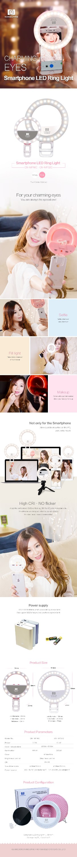 NanGuang CN-MP32C Bi color smartphone LED Ring light ring eyelight LED selfie ring light ring fill light