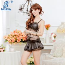 Transparent Big Size Two Piece Of Shirt And Dress Crotchless Big Size Leather Lingerie