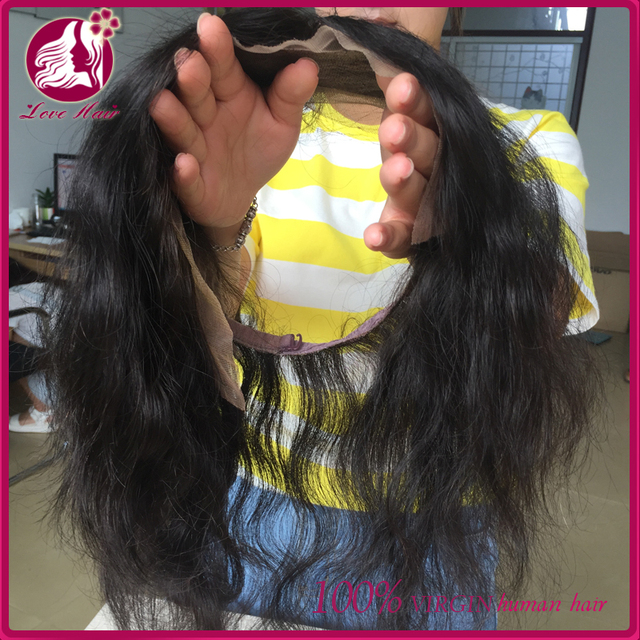 Hot selling Grade 8a virgin peruvian wavy human hair lace frontal with 360 lace band for black women overnight shipping