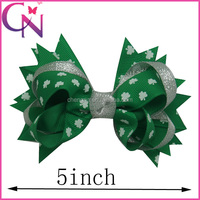 5 Inch Korean Fashion Organza Sliver Swallowtail Knot Beautifull Cute Hair Bow With Clip For Girls (CNHBW-13102448)