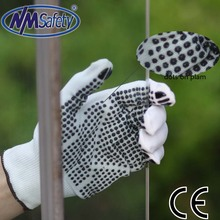 NMSAFETY bleached polycotton knitted cheapest glove Cheapest Dots Gloves