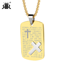 RIR Gold Stainless Steel Religious Necklace,18K Bible Letter Catholic Religious Charm Church Pendant