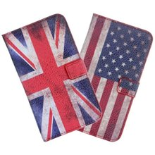 Retro uk us flag leather flip case for samsung galaxy note 2 n7100