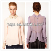 Factory outlets neck design of blouse blouses long sleeve AS010
