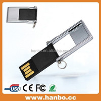 black and platinum flipping mini usb disk with keyring