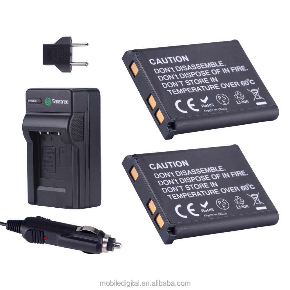 Smatree Replacement Battery(2-pack) + Battery Charger + Car Charger for Nikon EN-EL10 and Coolpix S60, S80, S200, S210, S220