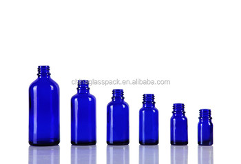15ml Drop DIN Pp18mm Blue Oil Glass Bottle with screw white cap