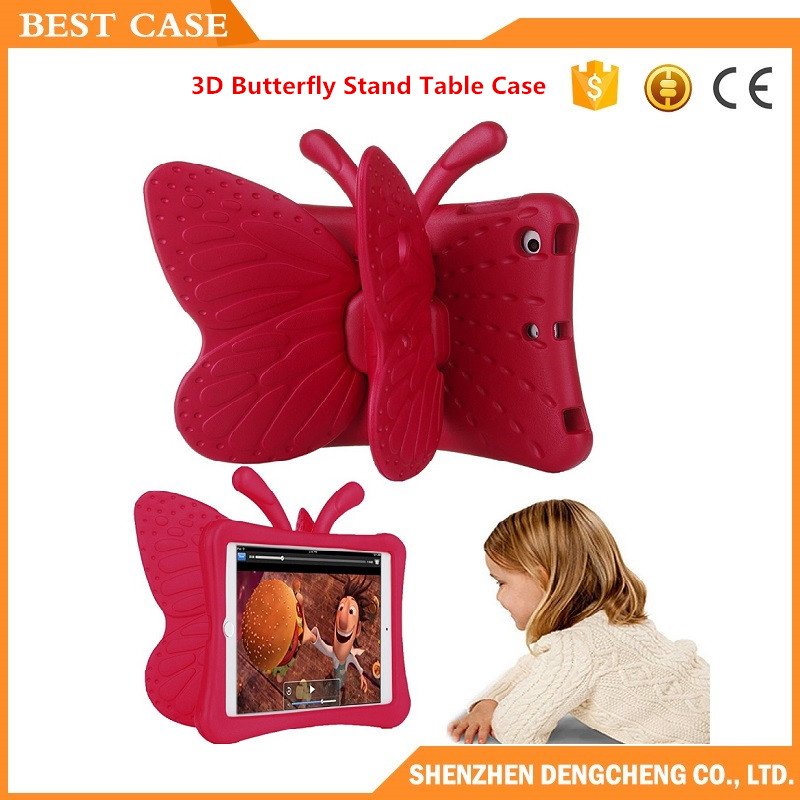 2017 Shockproof Case for iPad Mini 2 3 4 Cartoon 3D Butterfly Stand Table Case Kids Safe Case for iPad Air
