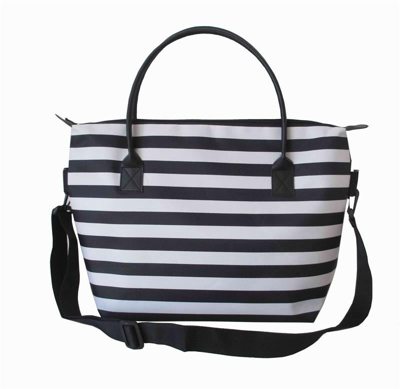 promotional polyester microfiber stripes tote bag