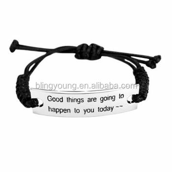 Rope braided Inspiration Word Bracelet stainless steel charm bracelet