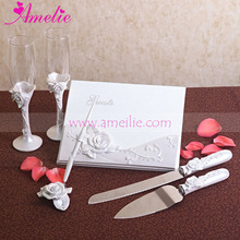 Resin Material Rose Flower Decorated Wedding Guestbook Cake Knife Set Wedding Decoration