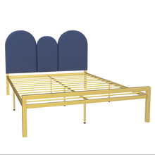 Modern minimalist green wrought iron bed golden double bed