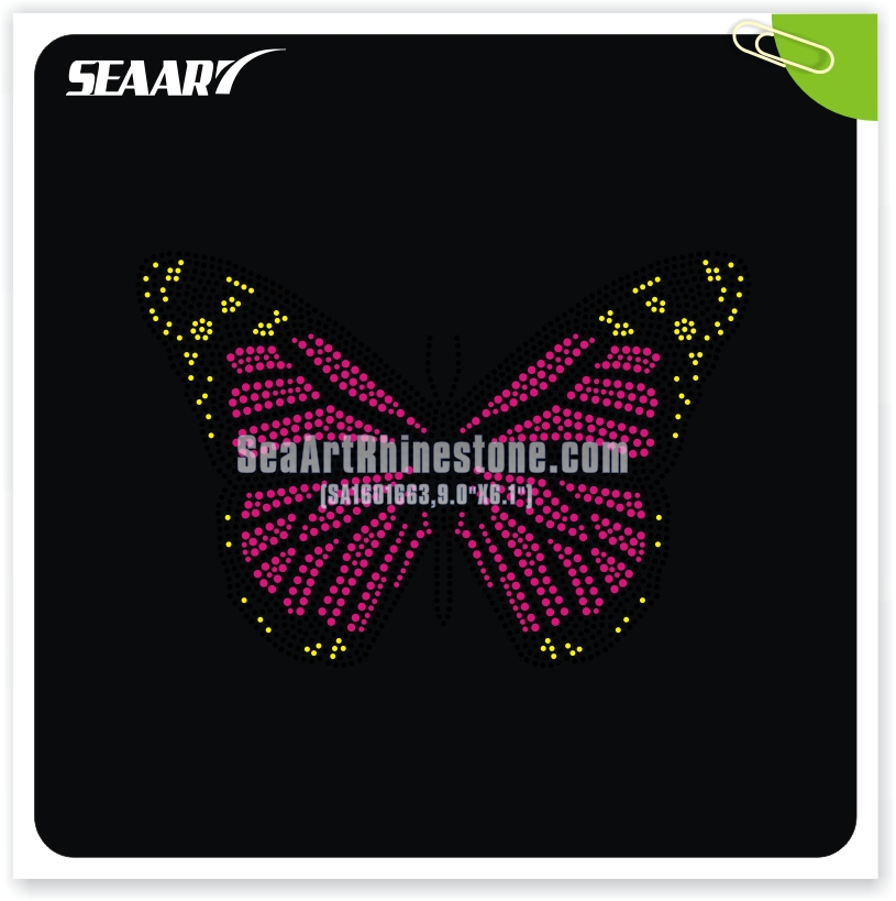 colorful butterfly custom hot fix transfer for garment