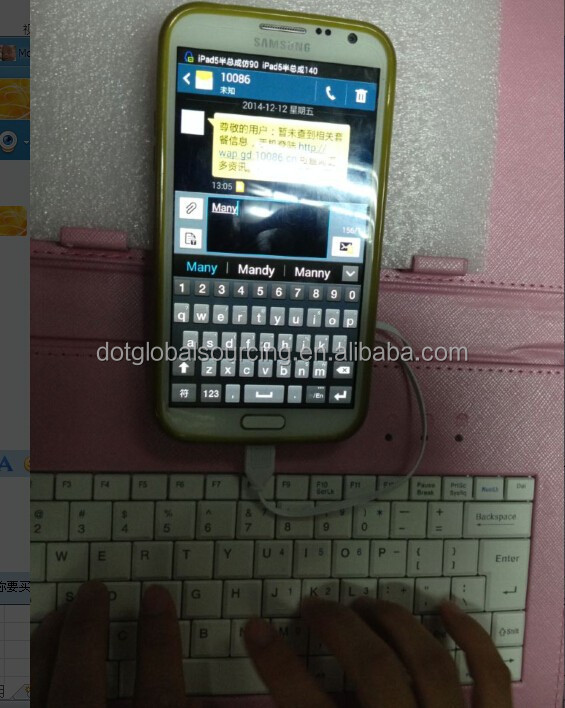 High quality leather Bluetooth Wireless Smart table external keyboard mini Phone Keyboard mini Phone Keyboard