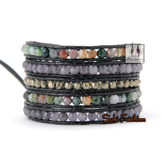High Quality Curved Pyrite&Curved Agate Leather Wrap Bracelet New Arrivals Braided Leather Bracelet Handmade Jewelry