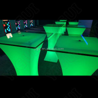 discount and cheap wine cafe led bar table/ led light glass tea table