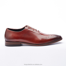 Hand Made New Italian Style Luxury Whole Cut Oxford Comfortable High Quality Cow Leather Burgundy Men Dress Shoes