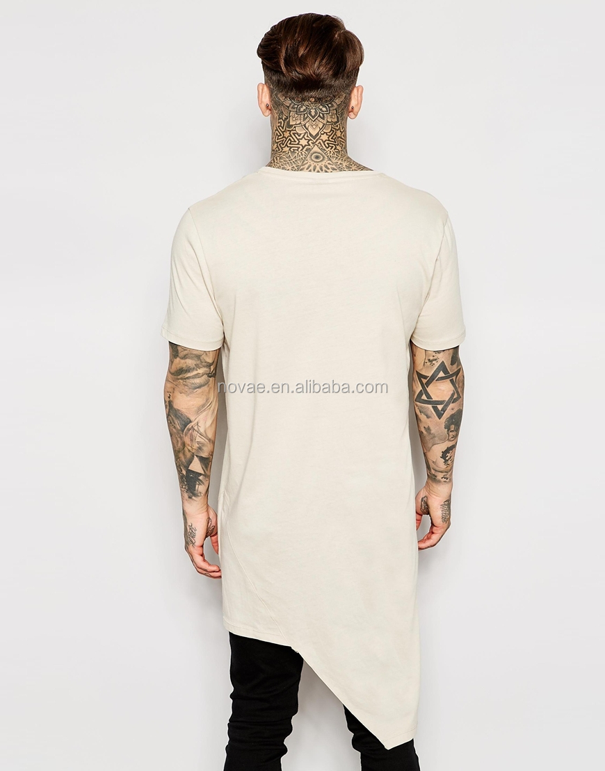 Long line asynetric hem plus size short sleeve men t shirt for Long line short sleeve t shirt