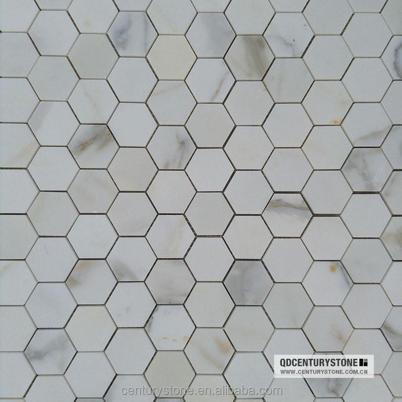 광택 흰색 calacatta 금 대리석 모자이크 육각 욕실 바닥 타일 ...
