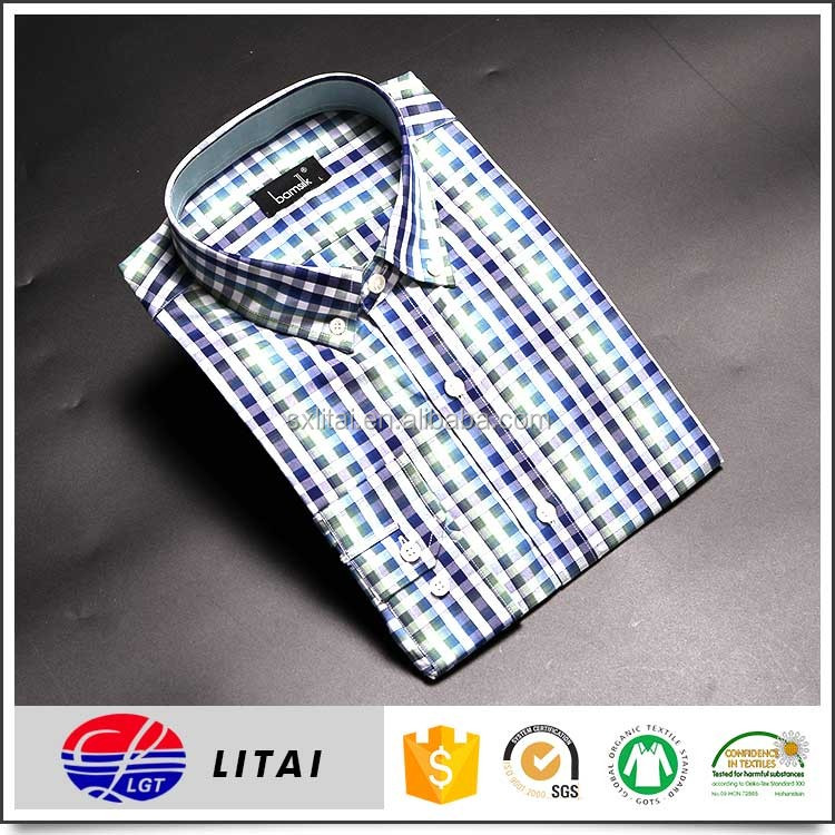 wrinkle free bamboo fabric, plaid formal shirts for men