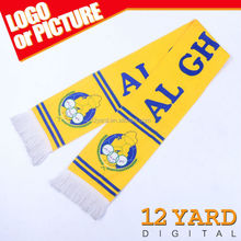 Best-selling promotional scarf Club team 100 polyester scarf and sport fans handmade silk shawl