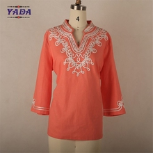 Stand collar designs wholesale ladies shirt oem service office wear embroidery blouse for women