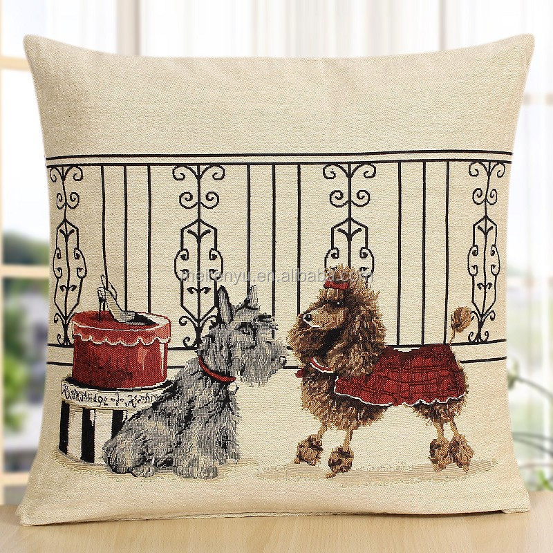 animal dog design jacquard cushion cover made in China embroidered funny design pillow