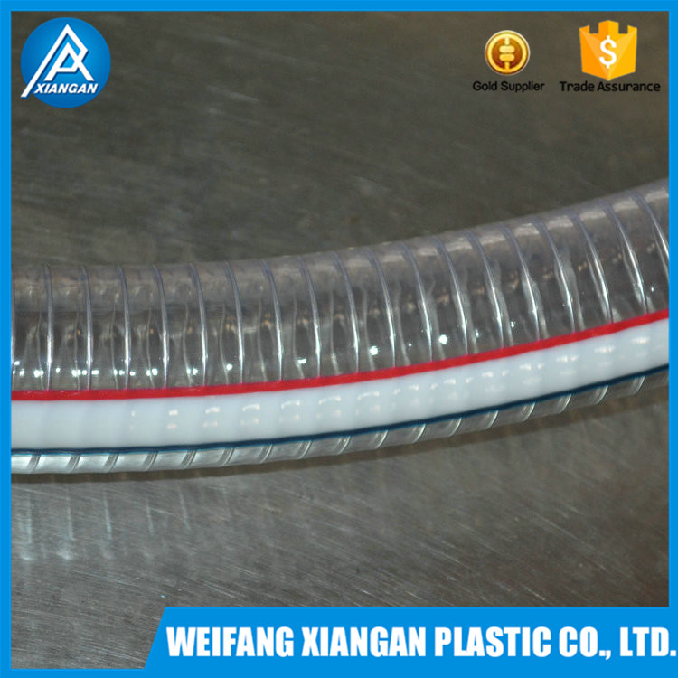 REACH certeficated steel wire reinforced spiral pvc hot water flexible hose food grade