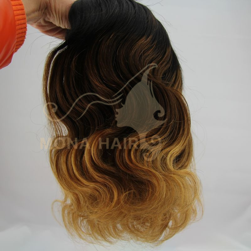 Top quality very popular mona hair virgin human hair colored three tone hair weave