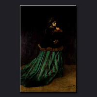 Handmade Claude monet impressionist oil painting reproduction, Camille or The Woman in a Green Dress