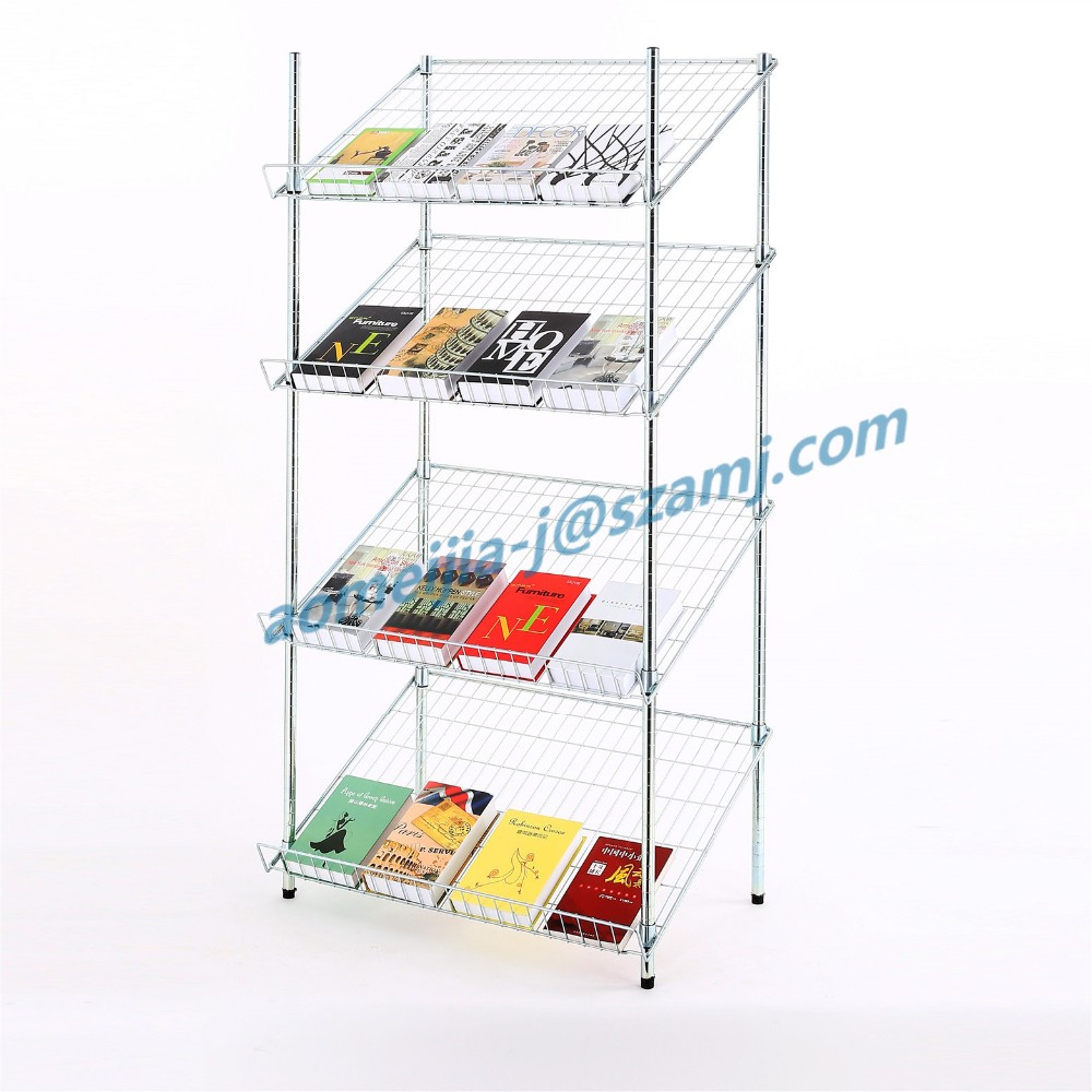 Multi-functional book storage wire mesh display shelf with 4 layer