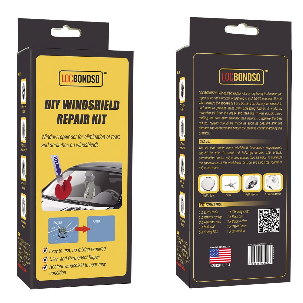 LOCBONDSO Windscreen Repair Kit for Auto Car Crack, Chips, Stars, BullEyes