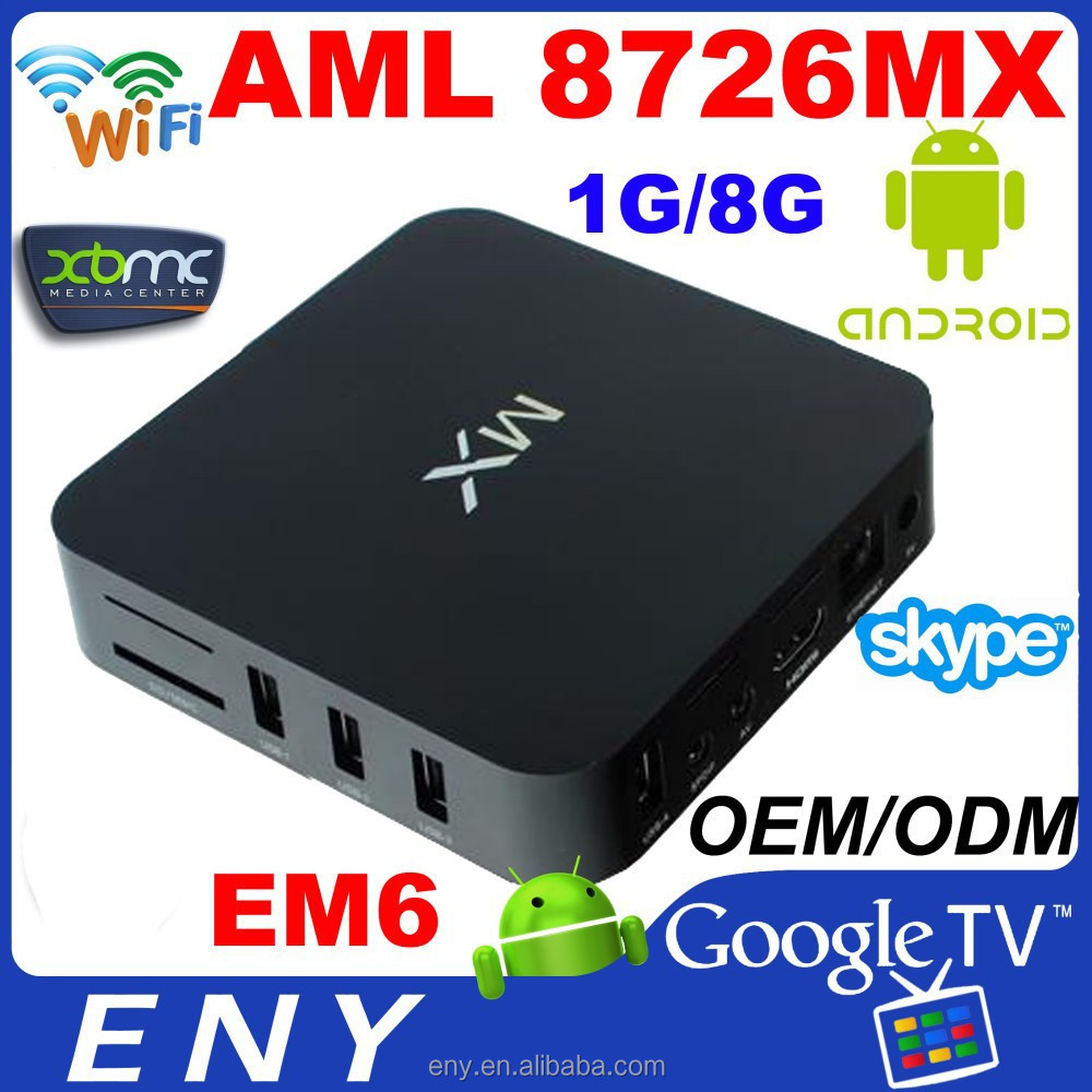 2015 New ENY MX EM6 TV BOX Mali-400 AML8726-MX RAM 1GB ROM 8GB android 4.2 scart tv stick