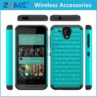 HOT 2015 Hybrid Dual Layer Soft Silicone + Hard PC Bling Diamond Mobile Phone Skin Case Cover for HTC Desire 520