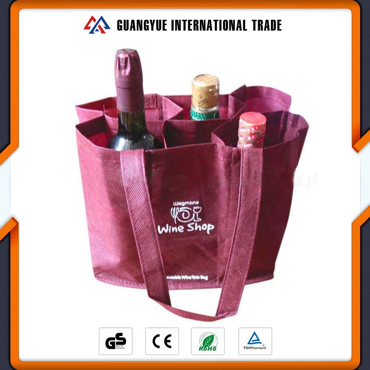 Guangyue Promotional Product Custom Printing Non Woven 6 Bottle Wine Tote Bag