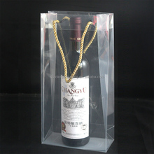 Custom Logo And Size Transparent PVC Wine Ice Bag Wine Bottle Cooler Bag