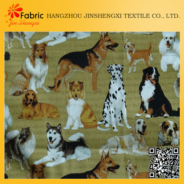 PI201312213 Factory price dogs printed soft quilts chinese fabric cotton