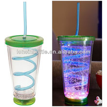 16 oz Insulated straw Tumbler with led flashing light ,NEW Lighted Disco Cup with Swirly Party Straw Drink - Flashing LED tumble