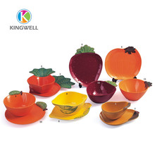 Decorative Plastic Fake Pumpkin Candy Container Bowls and Plates Set