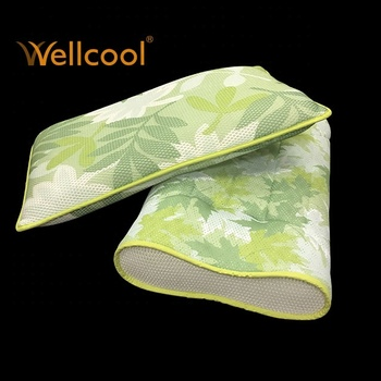 multi shape green leaves pattern neck protecting 3d mesh contour pillow
