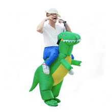 Hot sale fancy funny high quality Halloween mascot green inflatable dinosaur costume for adult