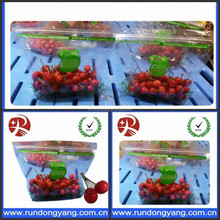 transparent plastic slider zip lock packaging fruit bag for cheery and grape