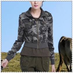 OEM zip closure womens camo cropped jacket