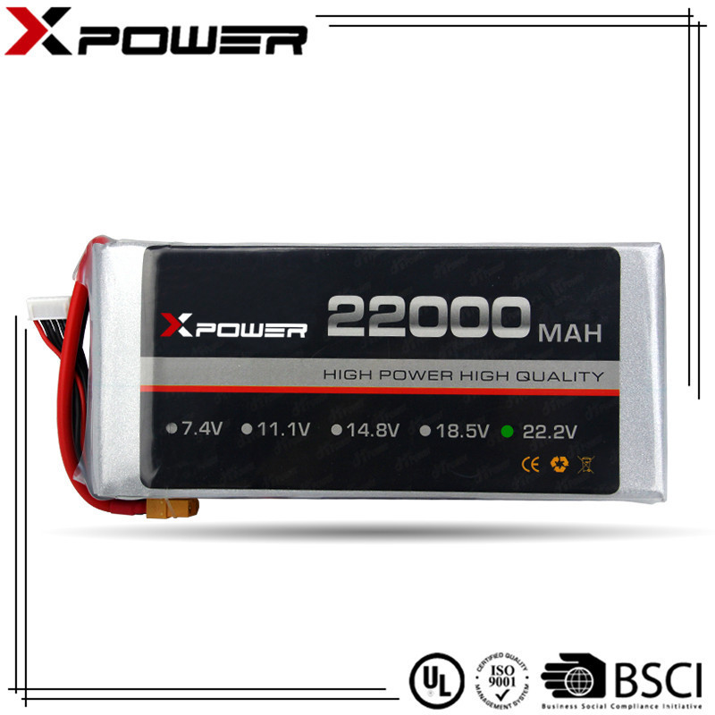 Xpower factory price rechargeable lithium <strong>battery</strong> 22.2V 22000mAh 20C for UAV Large capacity