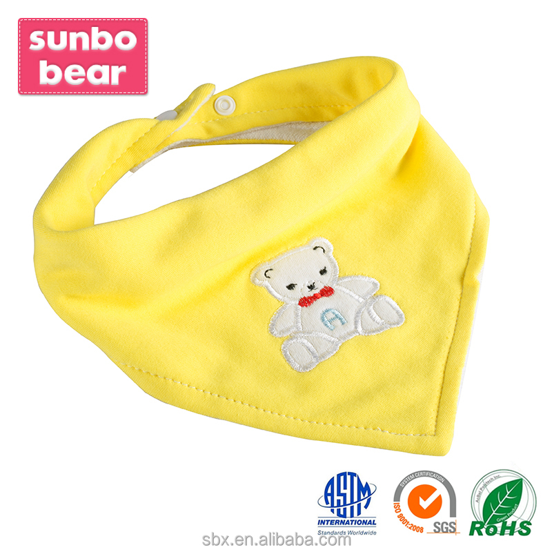 2016 Embroidered 100% Cotton baby bibs