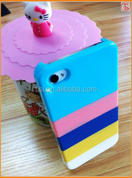 1USD Clear the stock Classic Rainbow strip phone case for Iphone 4/4s ,puzzle DIY cheap mobile phone case