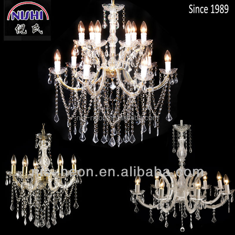 white fancy crystal droplets ceiling chandelier lighting NS-120179C