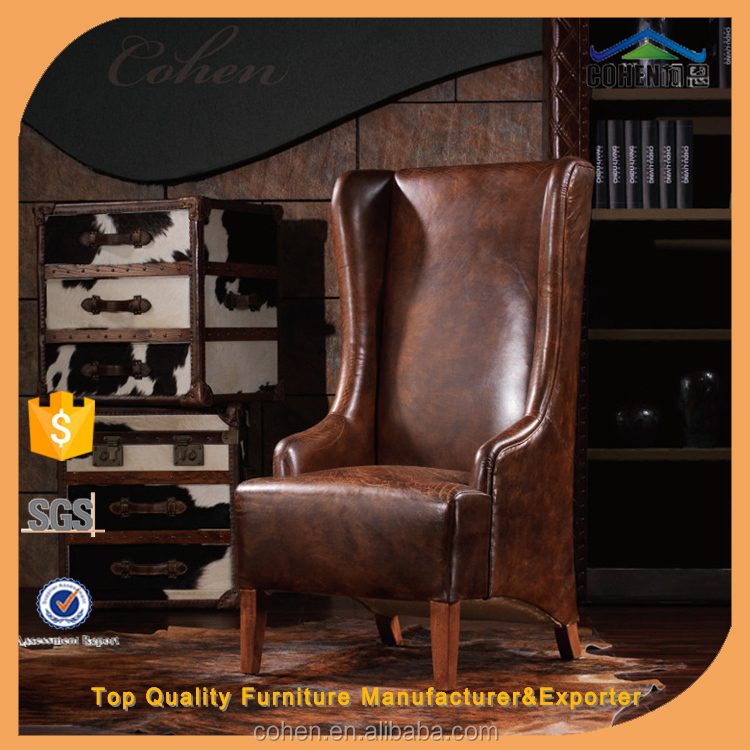 Top quality wood chair vintage style cow hide leather sofa high back chair/leisure chair GL017 special for you