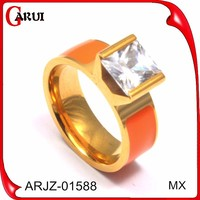 18k gold jewelry wholesale synthetic diamond jewelry orange color stone ring designs for men bijuteria 2015 fashion ring