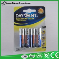 Hot Selling Factory Directly Provide Dry Battery R6 Battery 1.5V Aa R6 Sum3 Carbon Zinc Battery